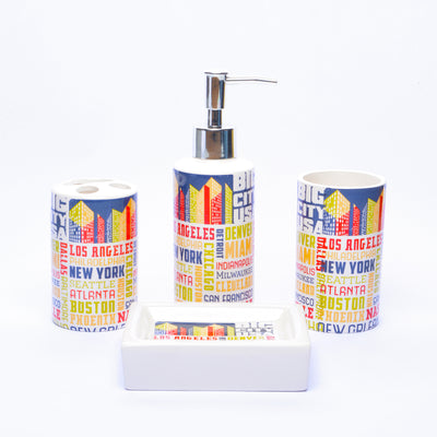 Abstract Typography Bathroom Set