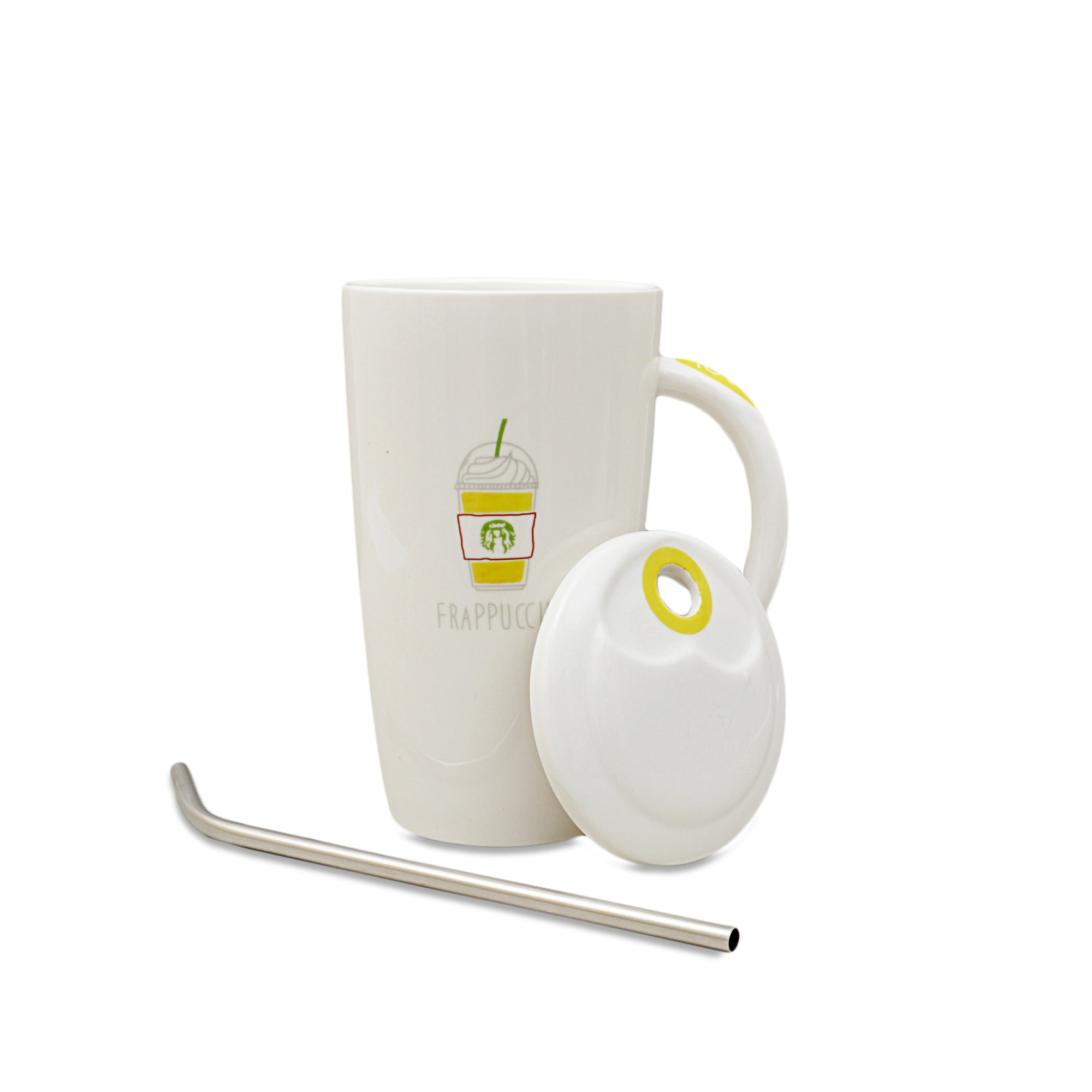 Special Frappuccino Lovers Ceramic Mug With Lid And Spoon