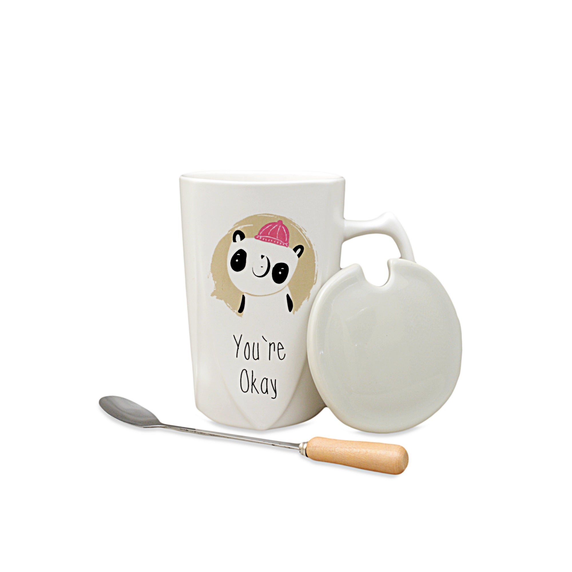 White & Grey Designed Ceramic Mug With Lid And Spoon