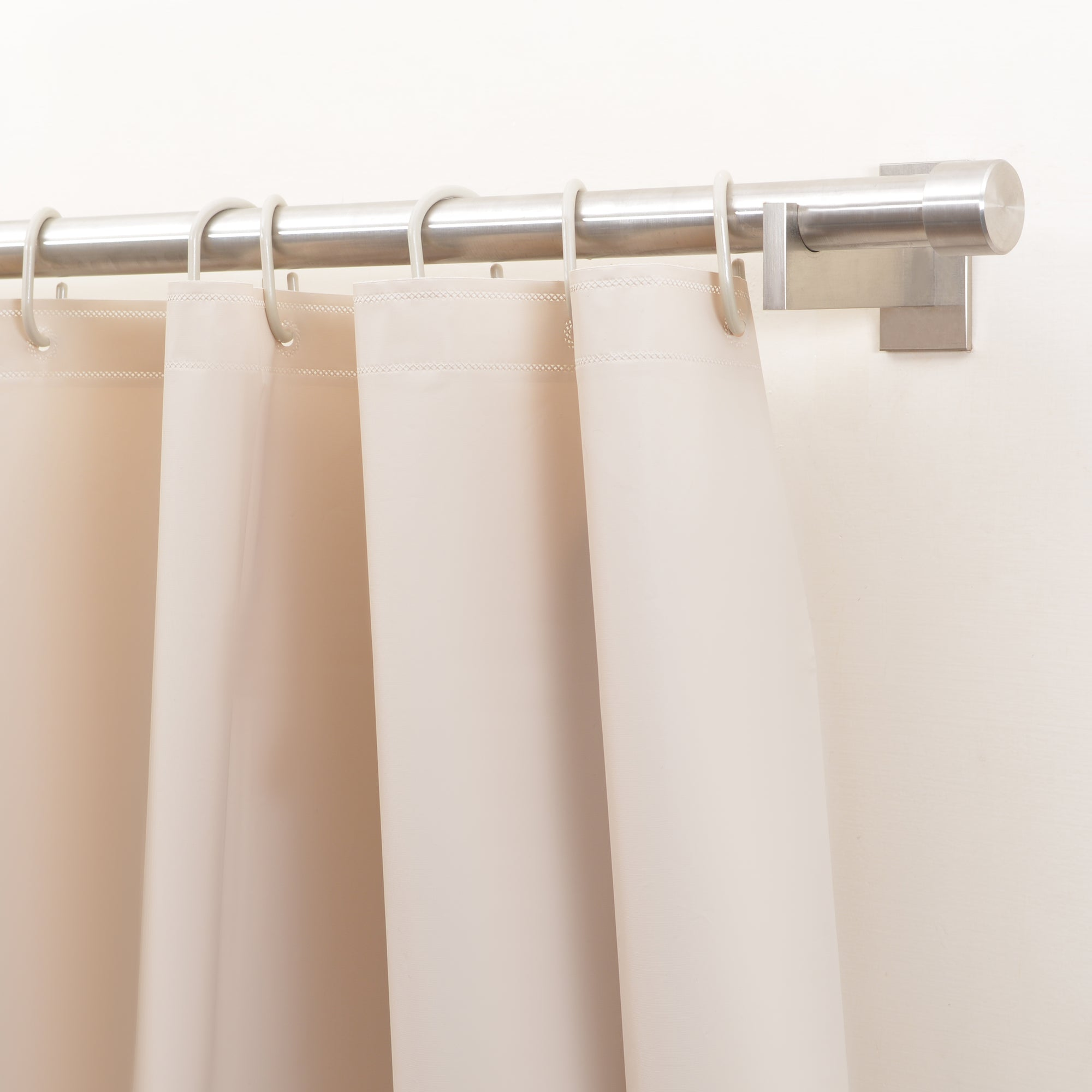 Pebble Matelassé Beige Shower Curtain With Rings