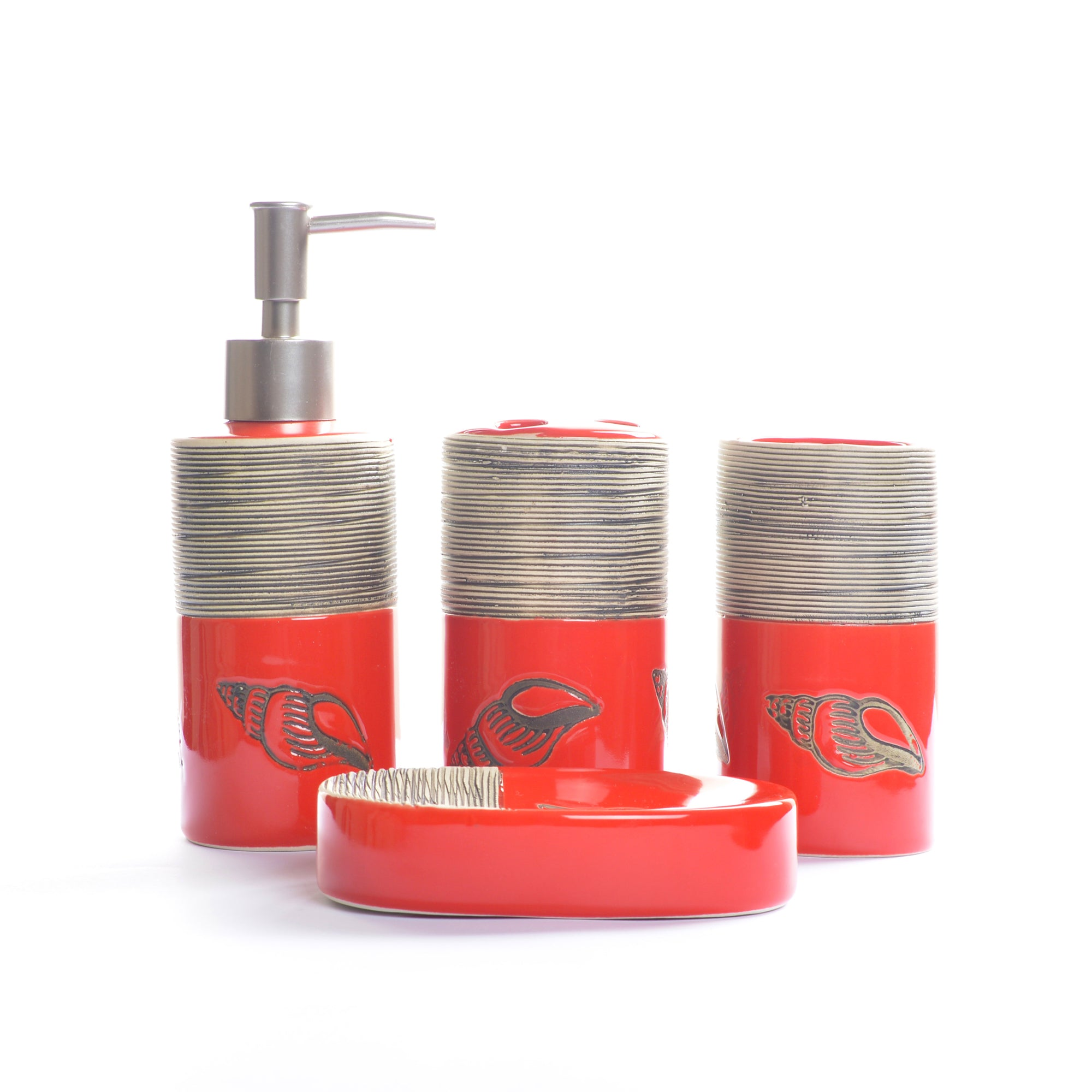 Red Embossed Lines Bathroom Set