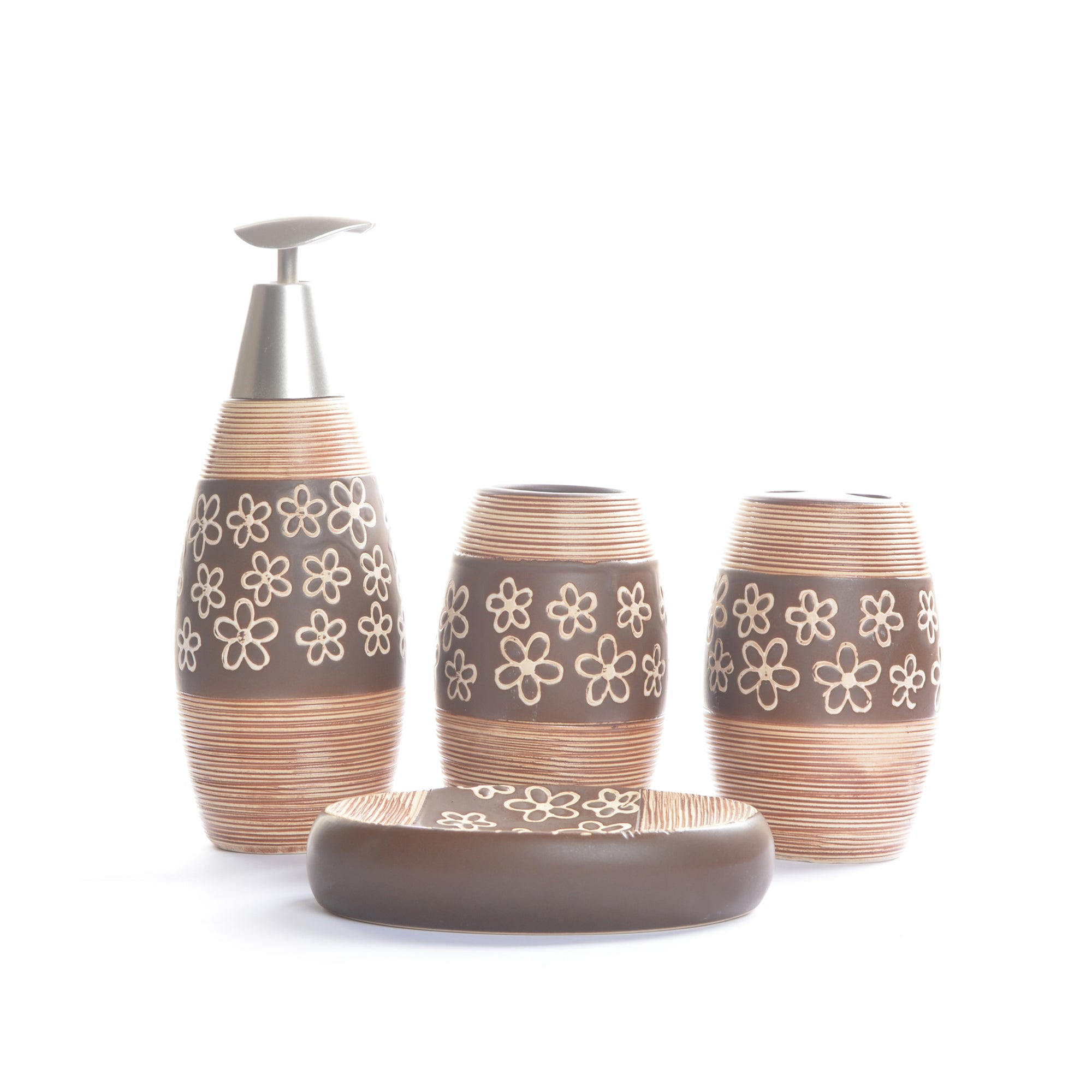 Floral Design Bathroom Set (Brown)