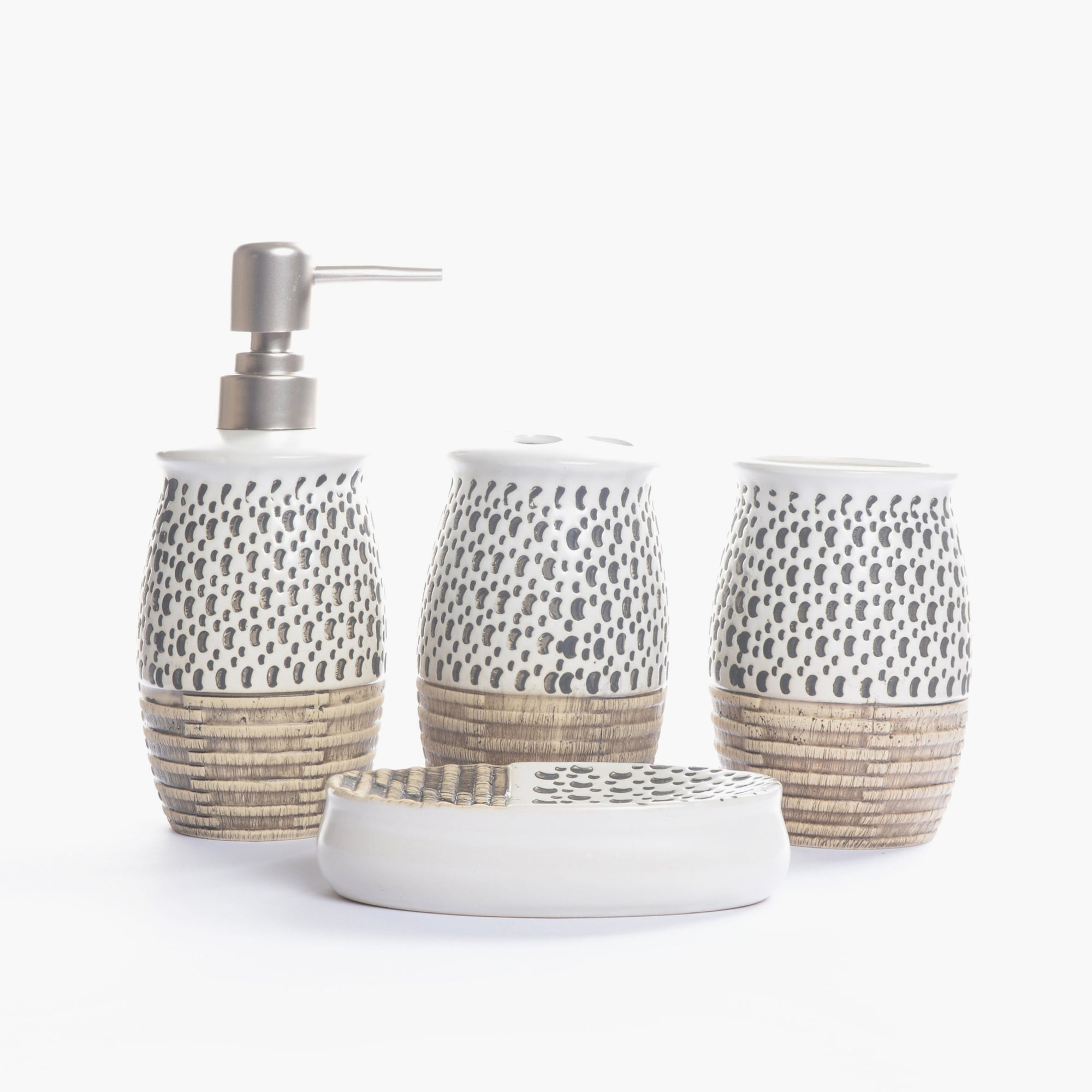 Embossed Dotted Bathroom Set (White)