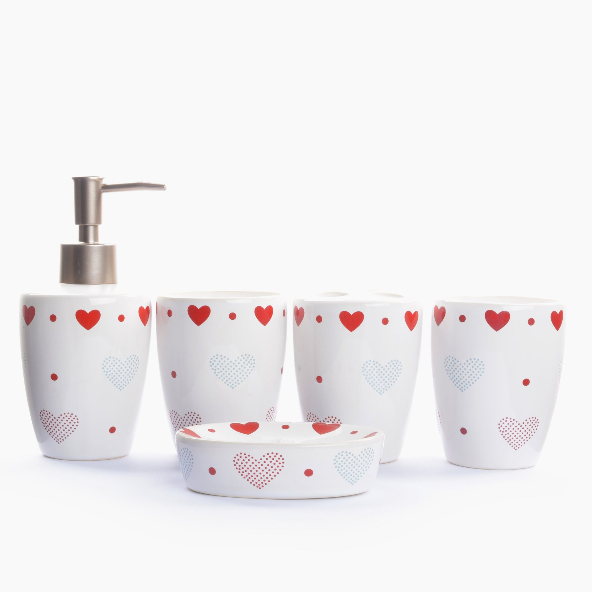 Hearts Printed Ceramic Bathroom Set (5 Pieces)