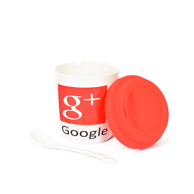 Google+ Design Decorative Ceramic Mug With Rubber Lid & Spoon
