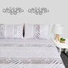 White Creamy Abstract Lines Design Bed Sheet with pillows