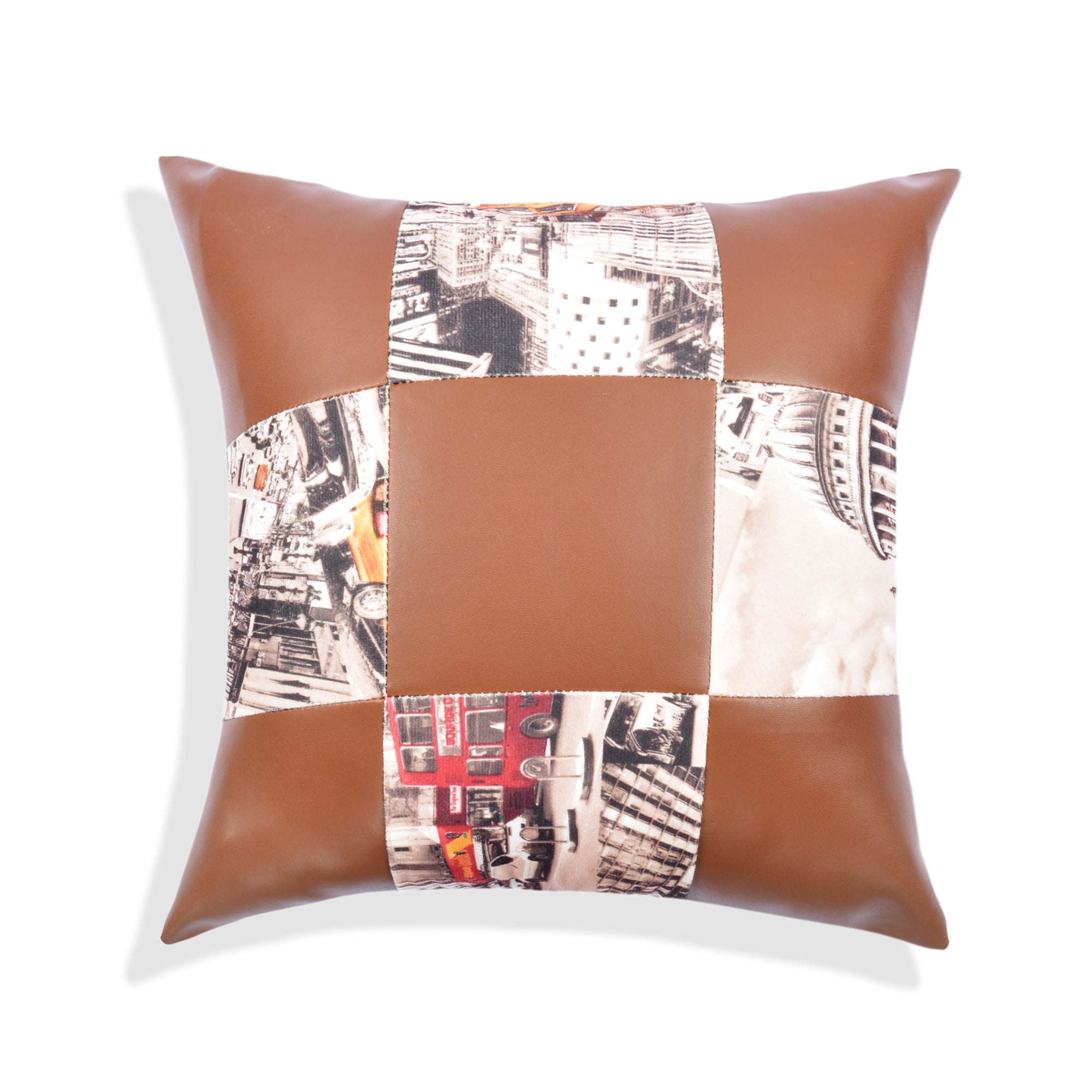 Leather Block Cushion Cover (Shine Brown )
