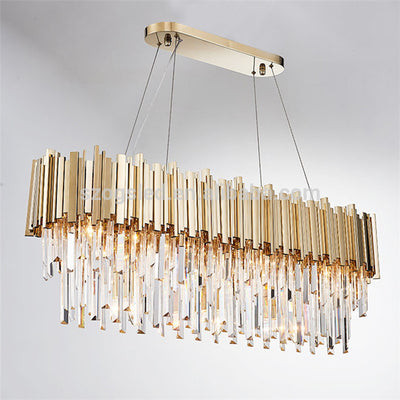 Double Golden Bars Crystal Bars Ovel Ceilling Lamp