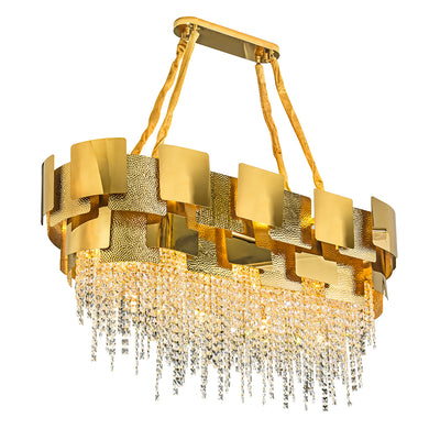 Suared hammerd Beads Ovel Ceilling Lamp
