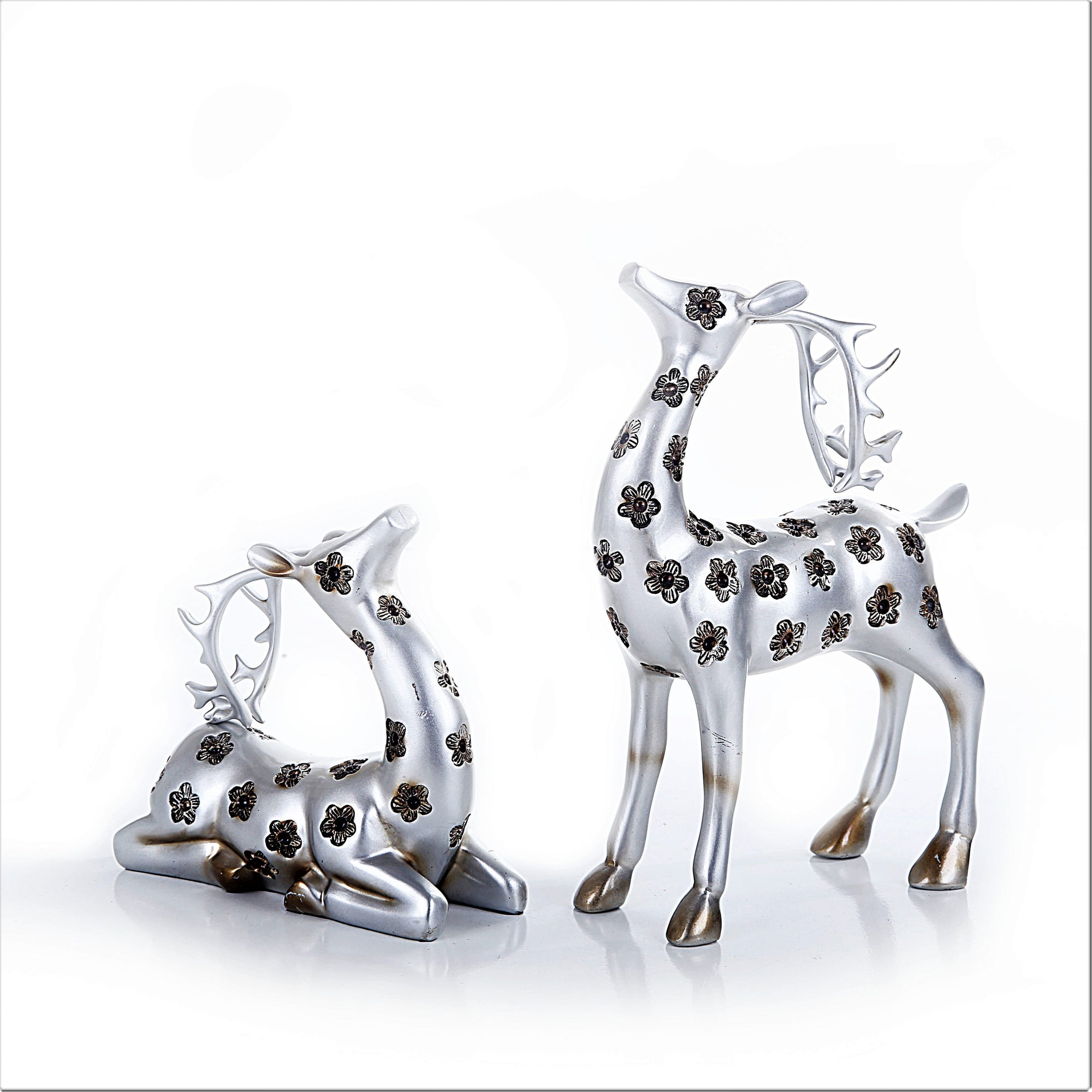 Silver Flower Elk Statue (Set of 2)
