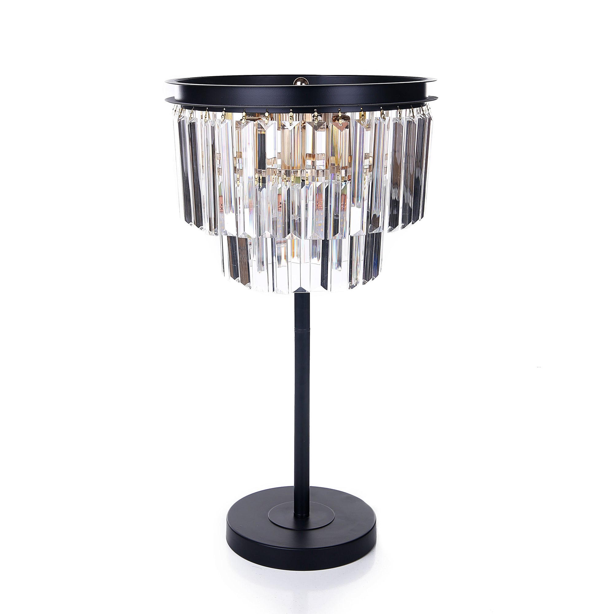 Matt Black Crystle Bars Table Lamps
