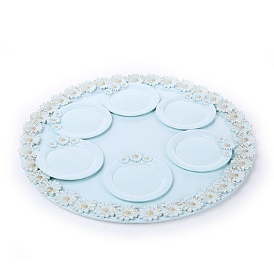 Sun Flower Blue Tray with Coasters