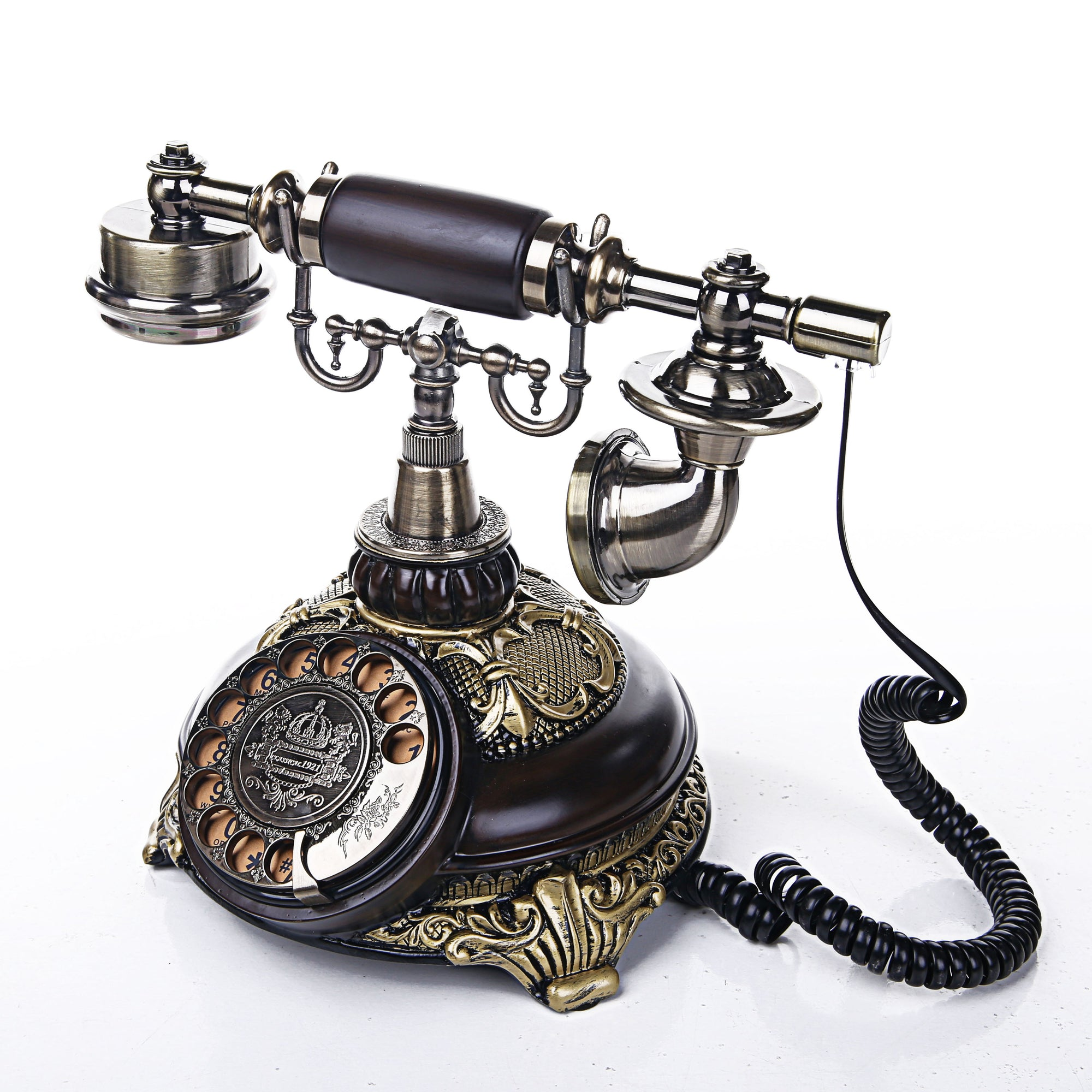 Round Engraved Design Telephone
