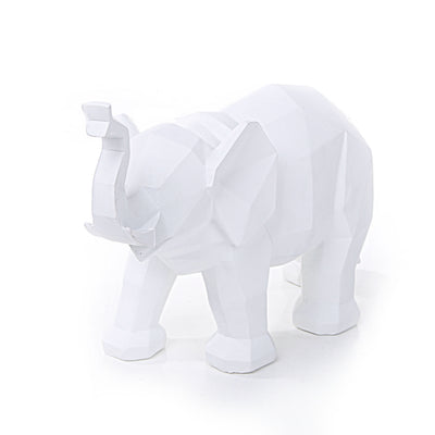 Geometrical Elephant Statue (White)