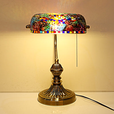Dark Turkish Mosaic Bankers Table Lamp