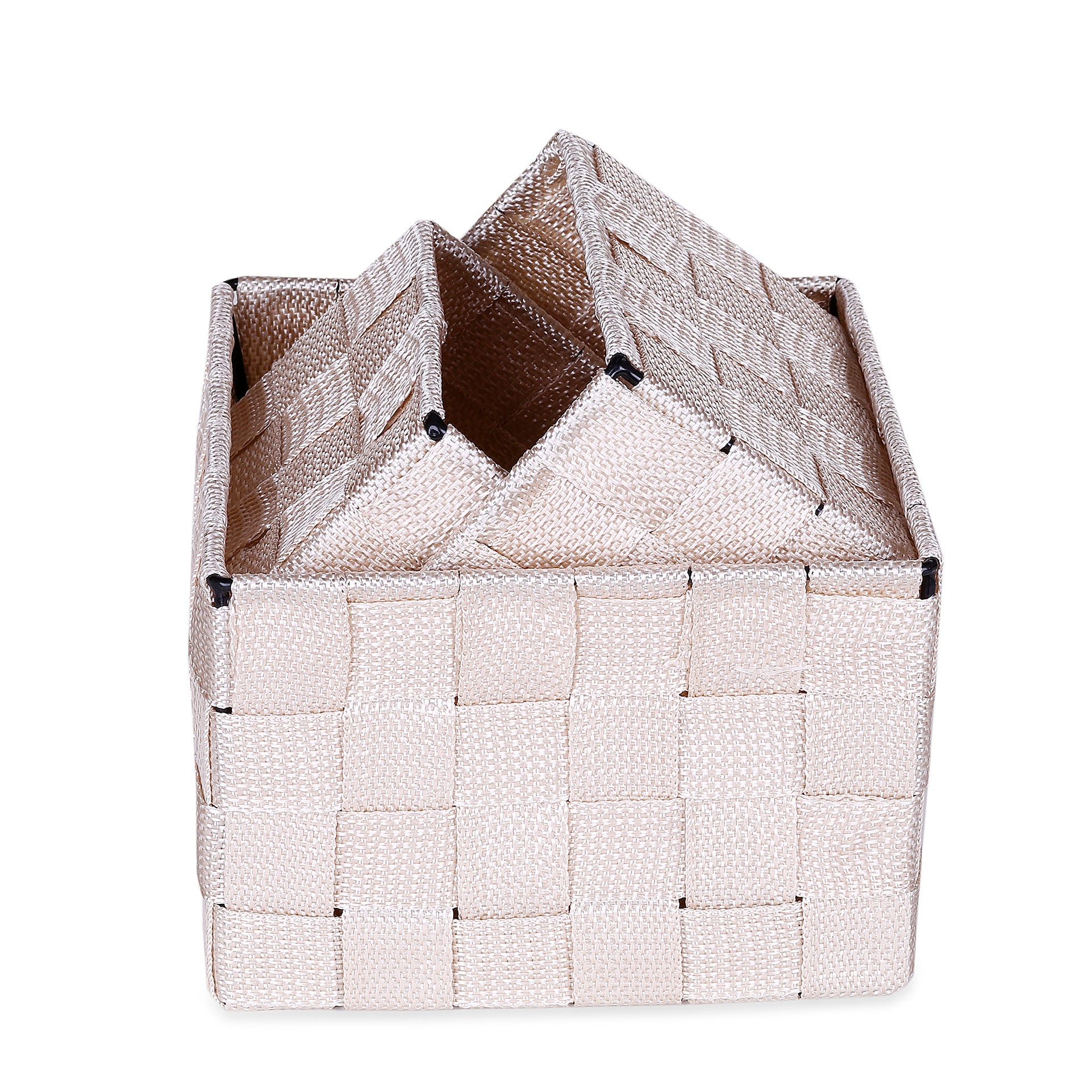 Beige Square Design Basket (Set of 3)