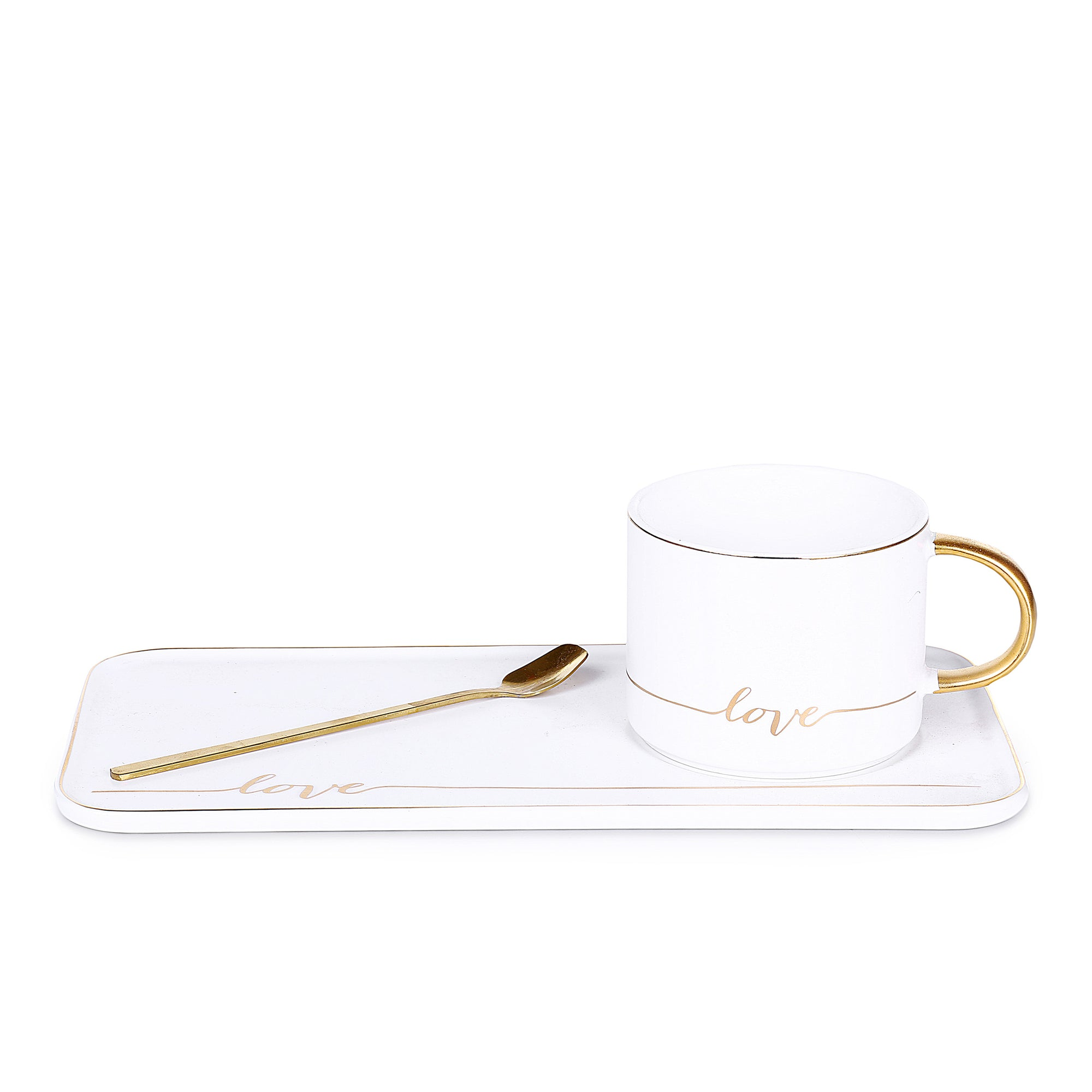 Love White Mug With Tray & Golden Spoon
