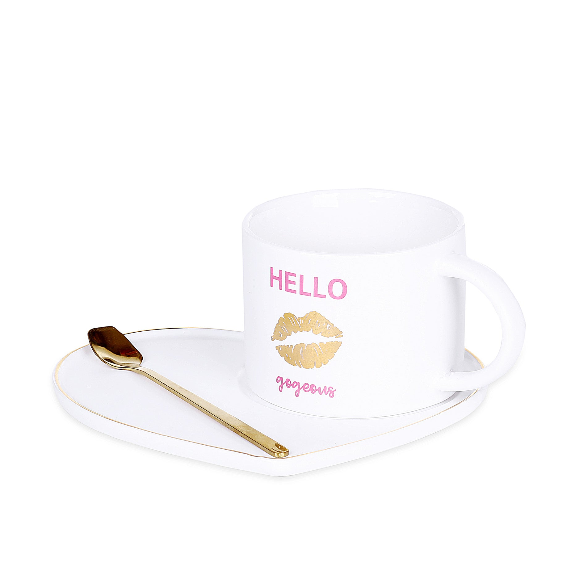 Heart White Mug With Tray & Spoon