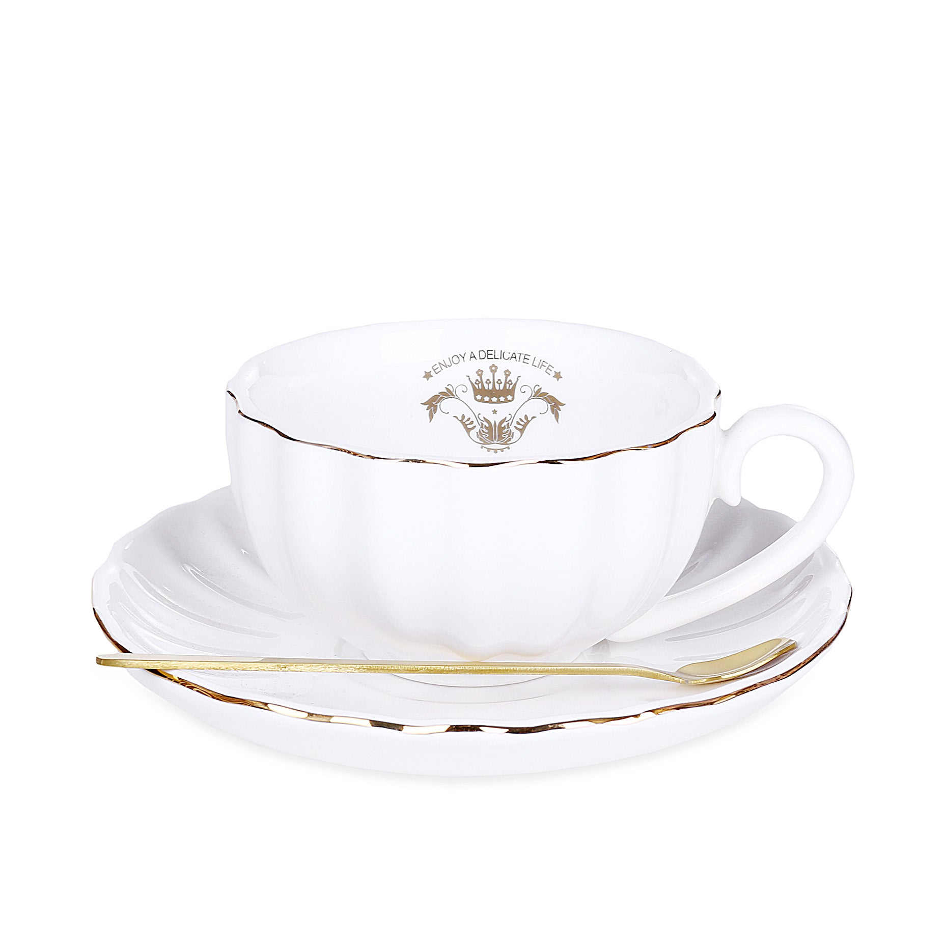 Round Flower Design Mug With Tray & Spoon