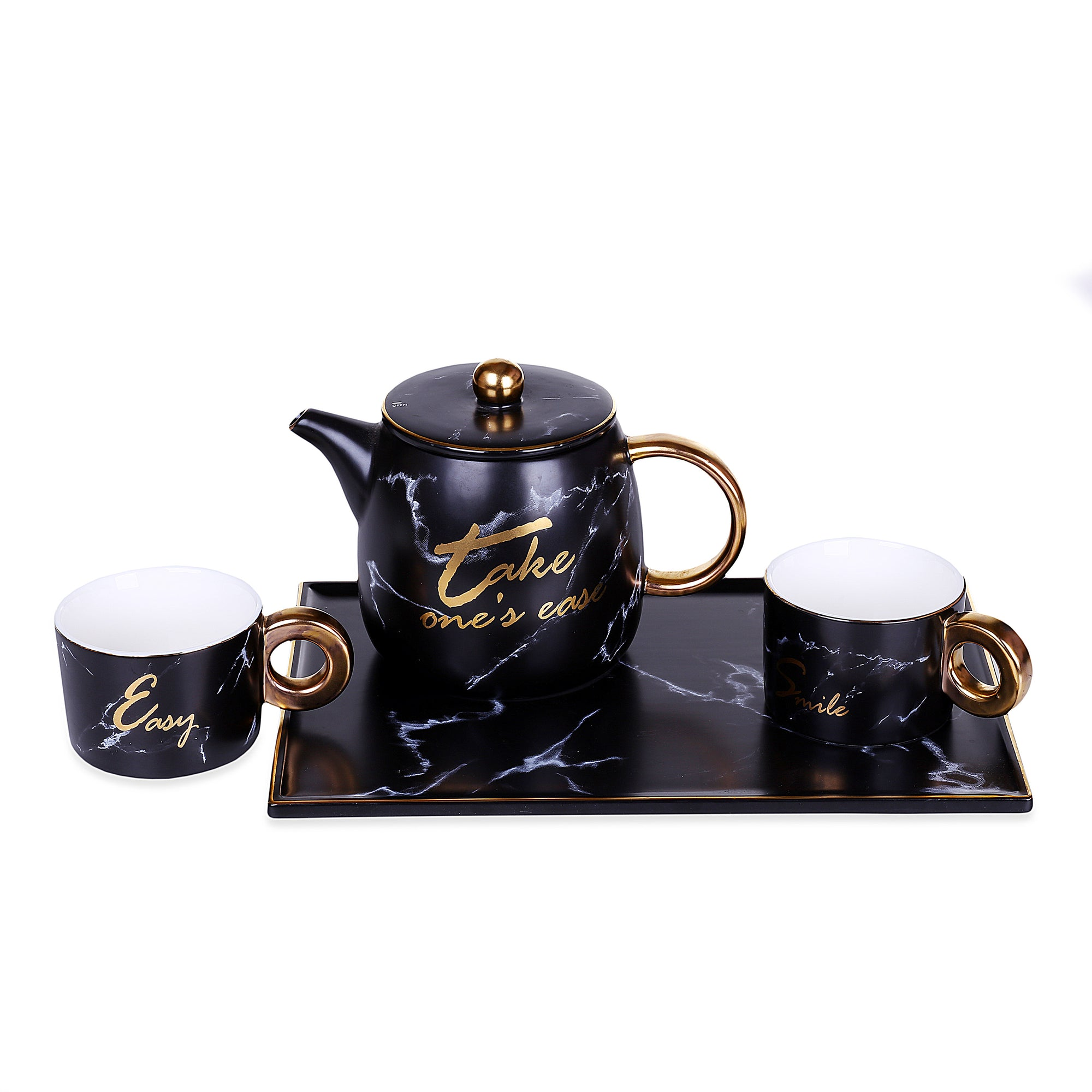 Marble Design Mugs With Teapot & Tray