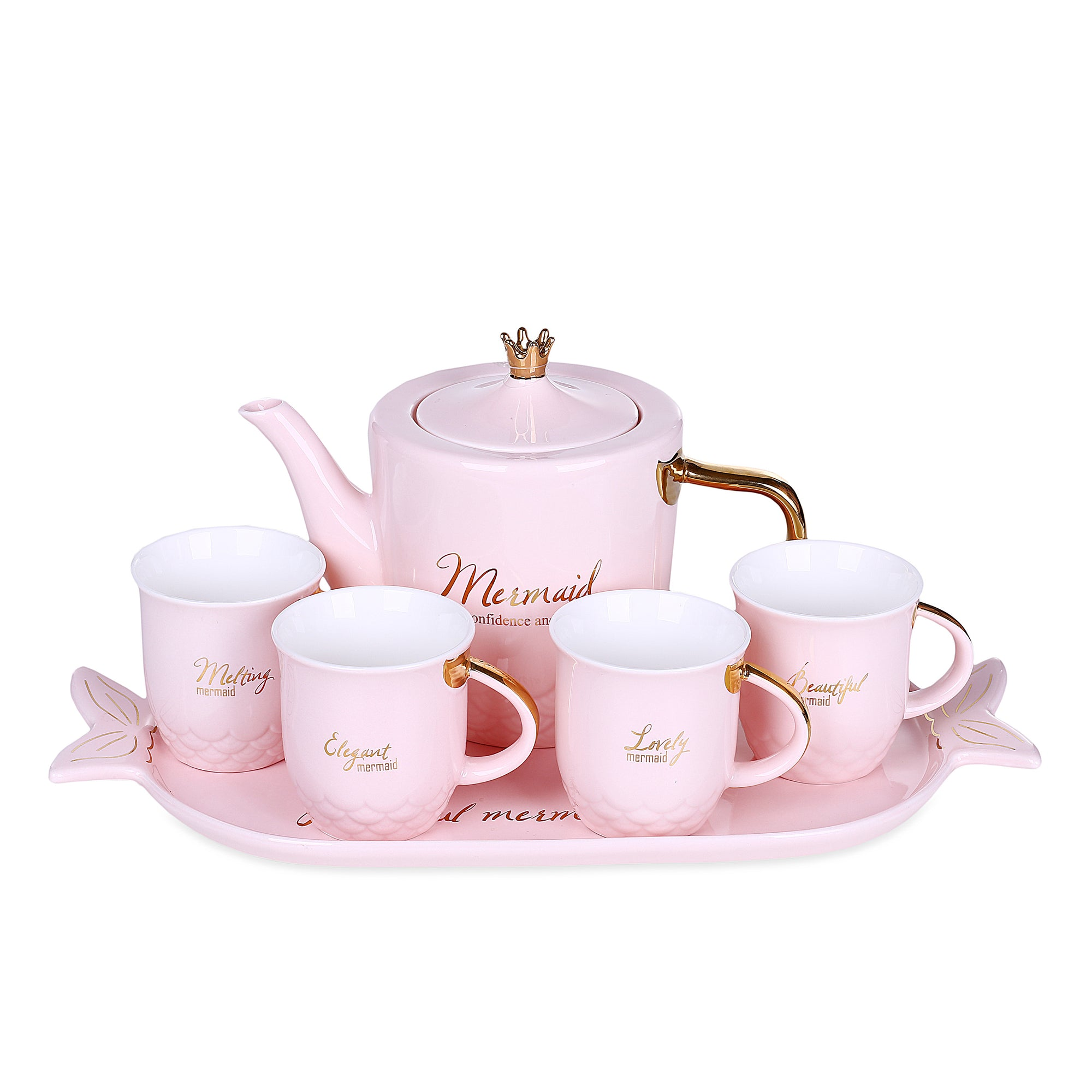 Pink Mermaid Mugs With Teapot & Tray