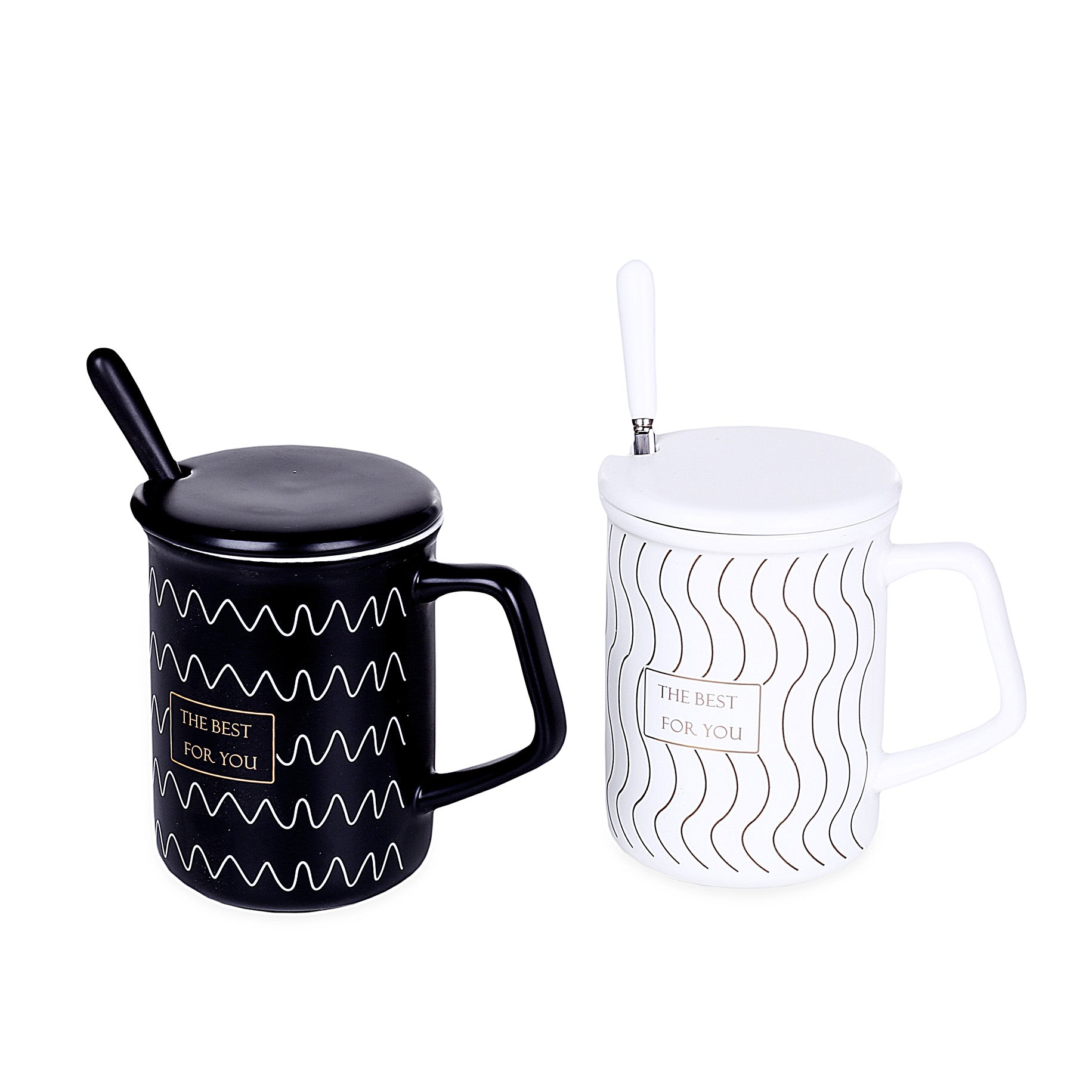 Wavy Design Mugs With Lid & Spoon (Set Of 2)