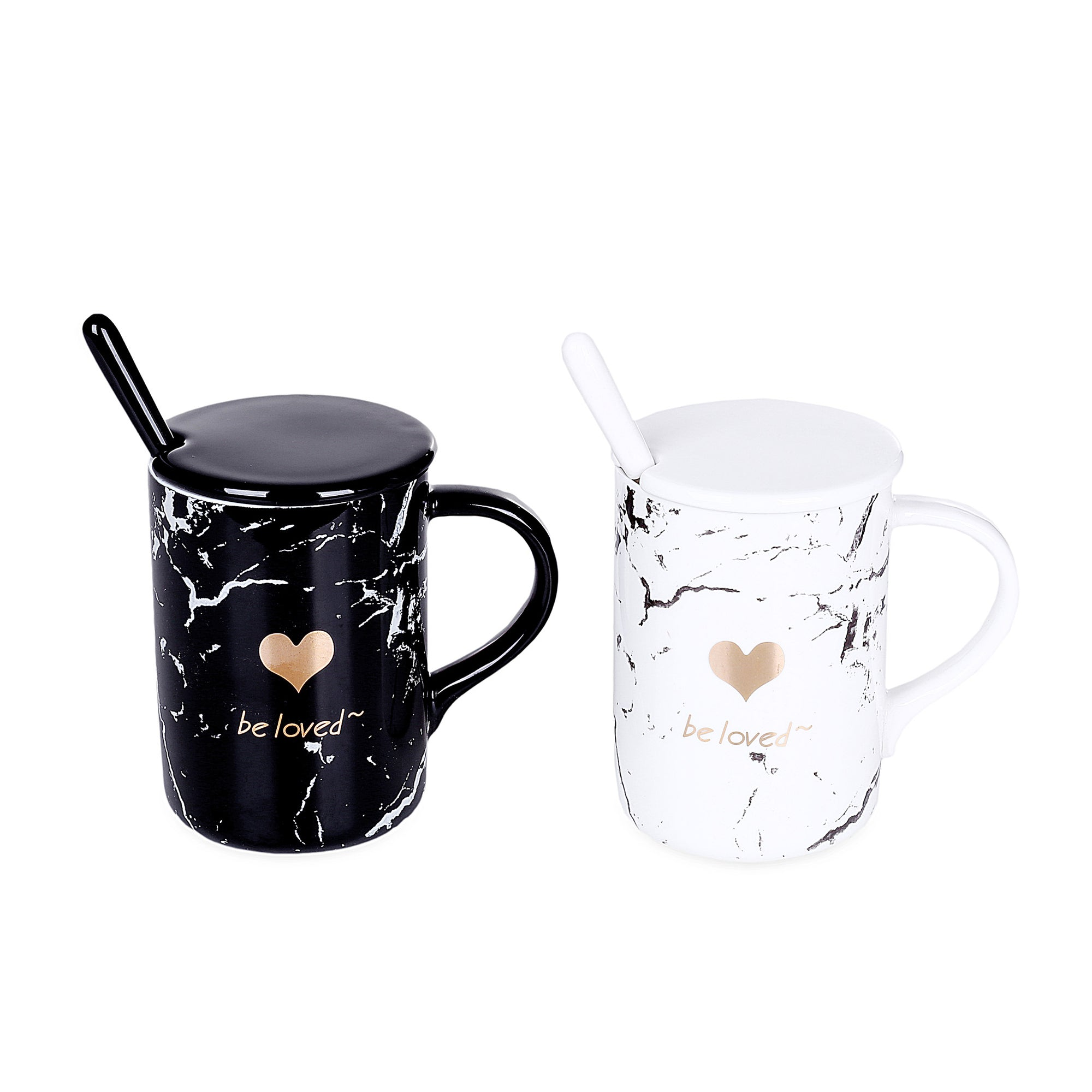 Marble Heart Design Mugs With Lid & Spoon (Set Of 2)