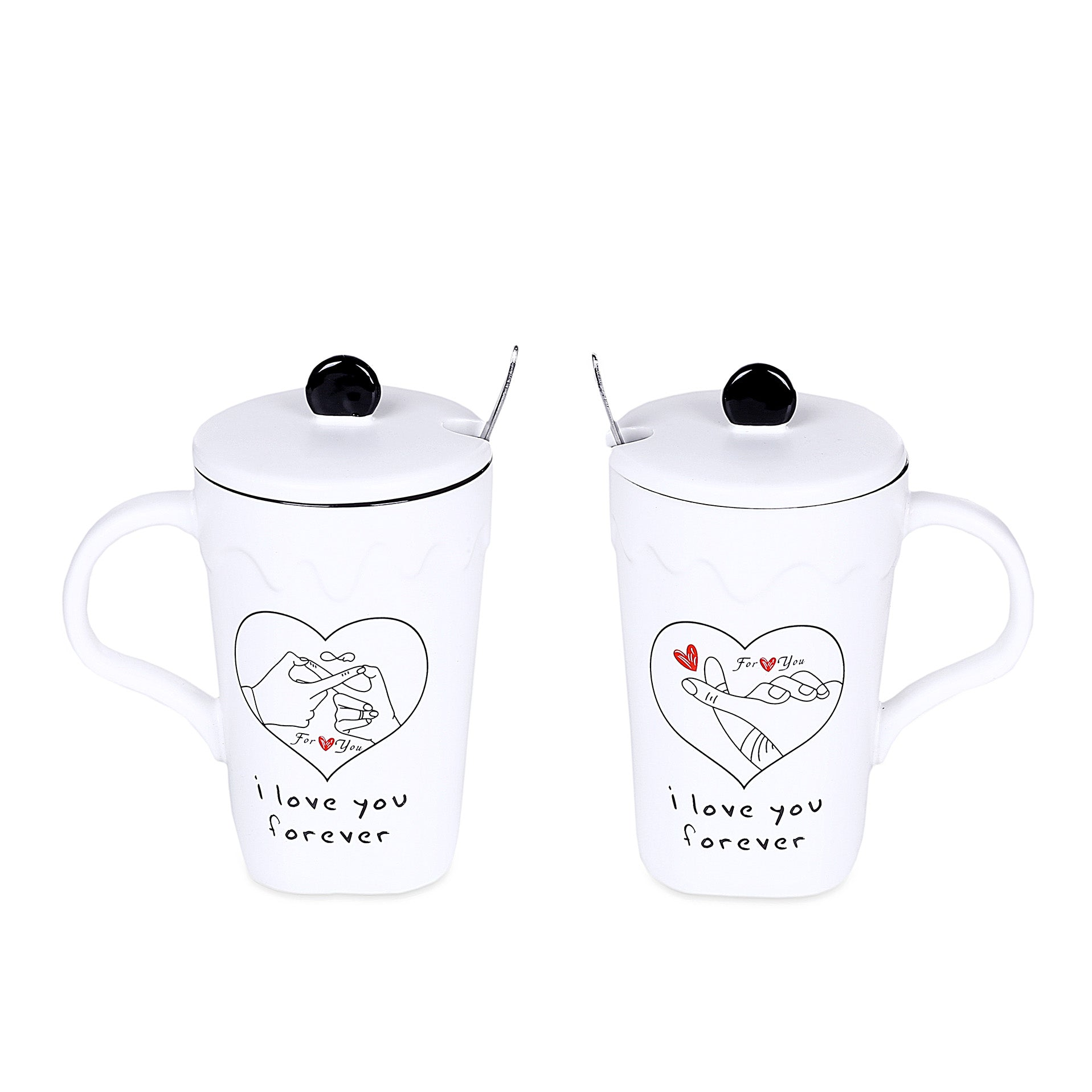 Love Forever Design Mugs With Lid & Spoon (Set Of 2)