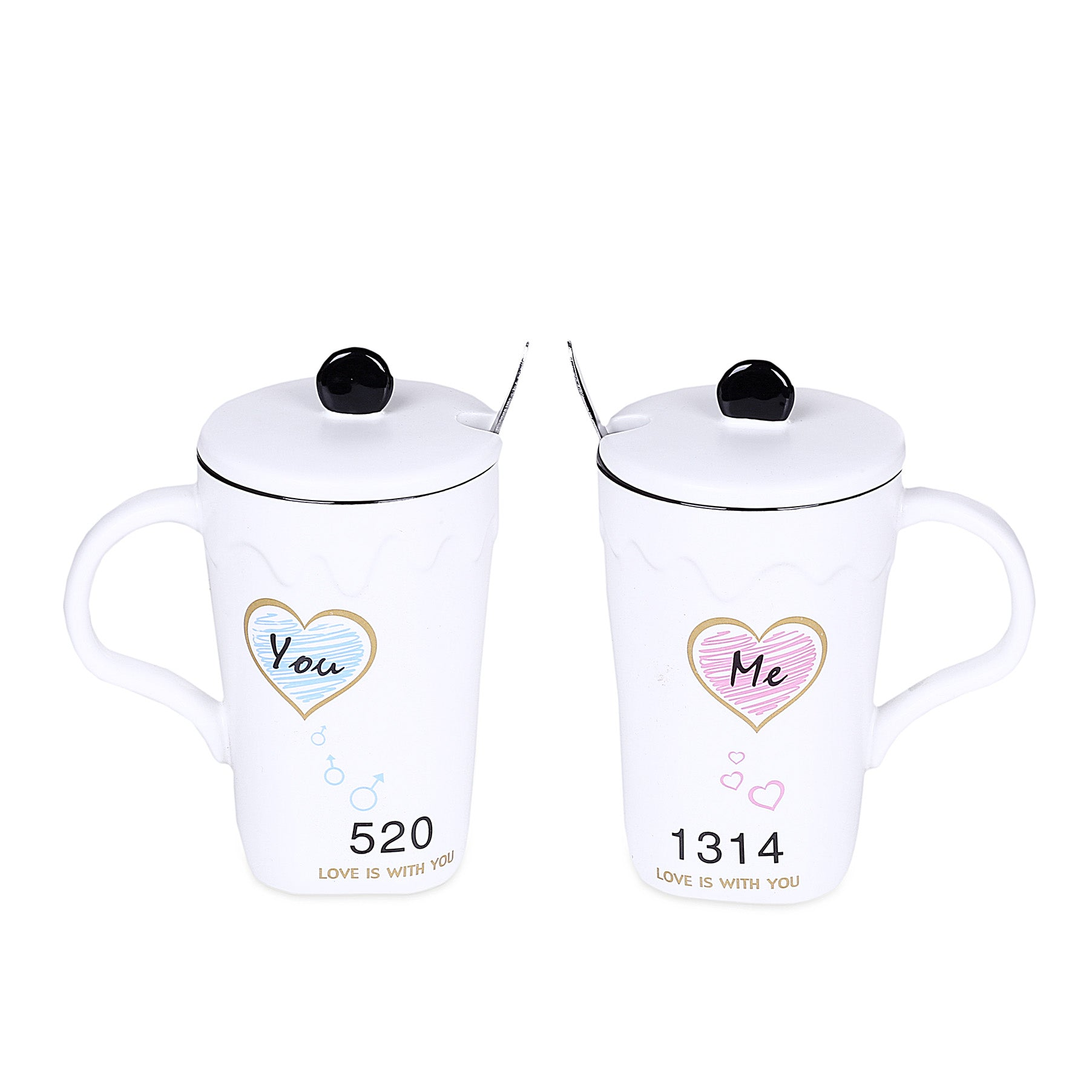 Couple Design Mugs With Lid & Spoon (Set Of 2)