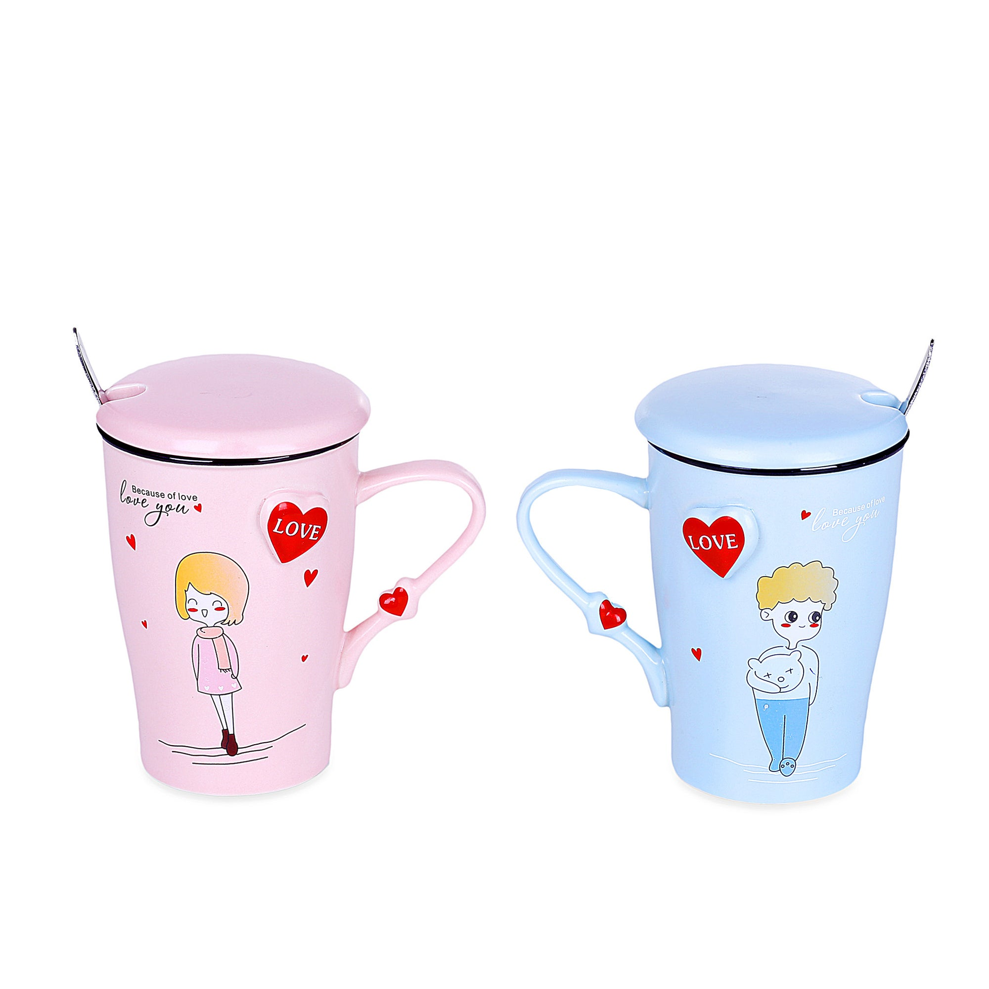Relationship Design Mugs With Lid & Spoon (Set Of 2)