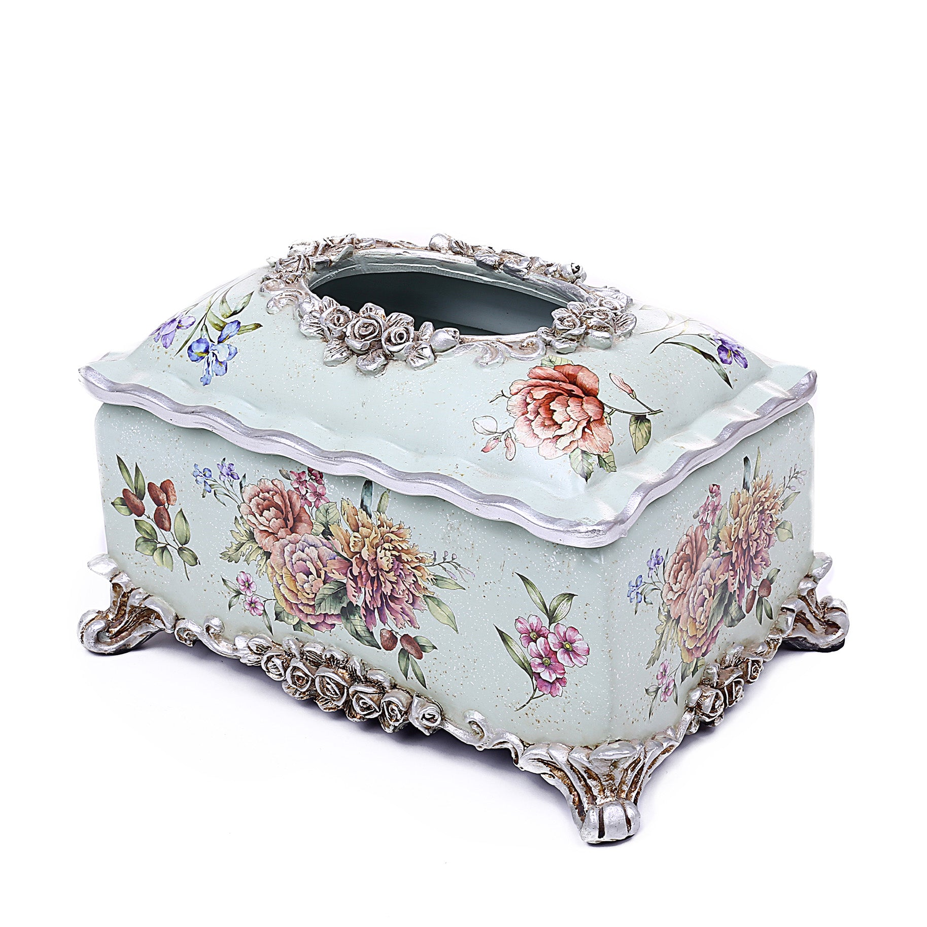 Flower Design Tissue Box