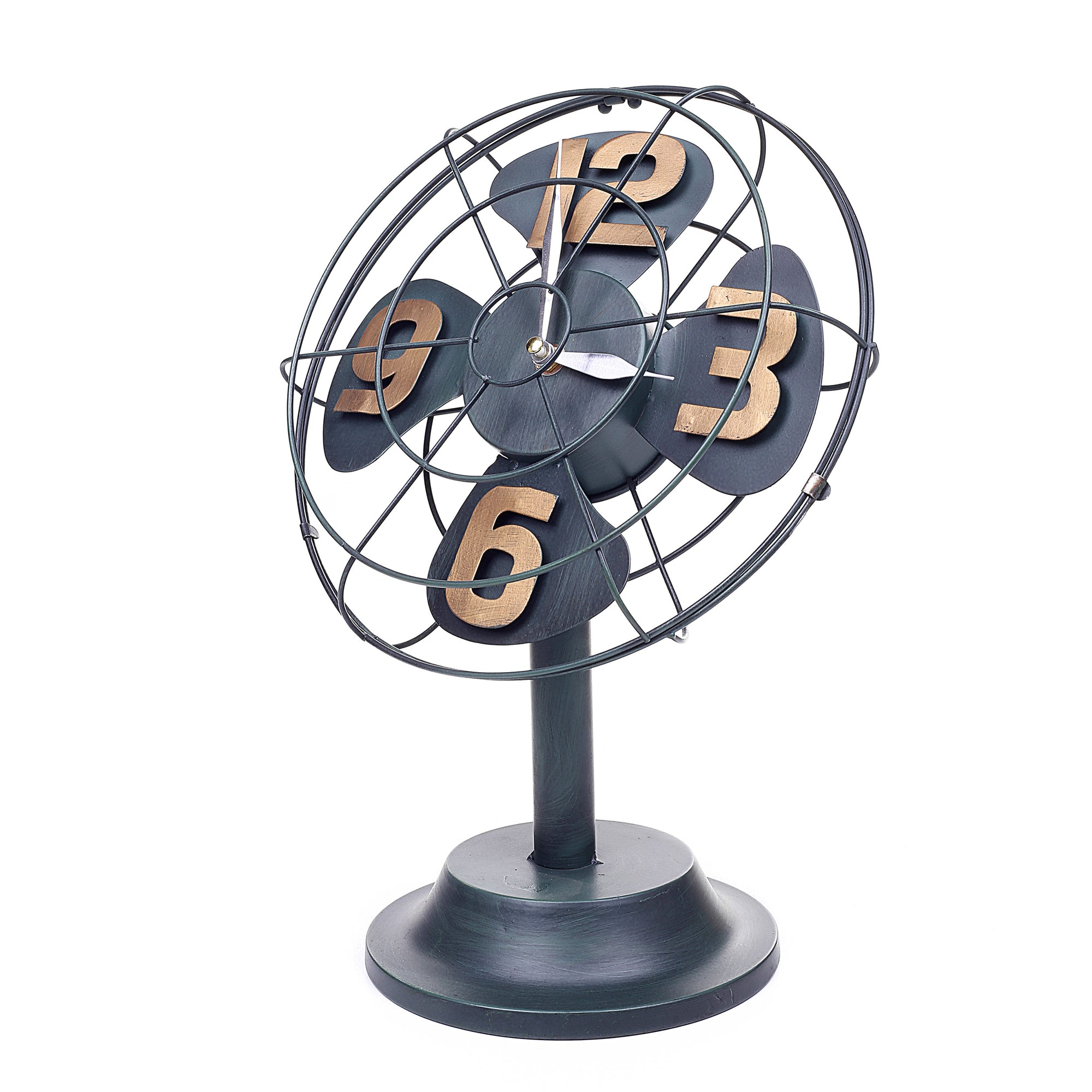 Decorative Stand Fan Design Table Clock