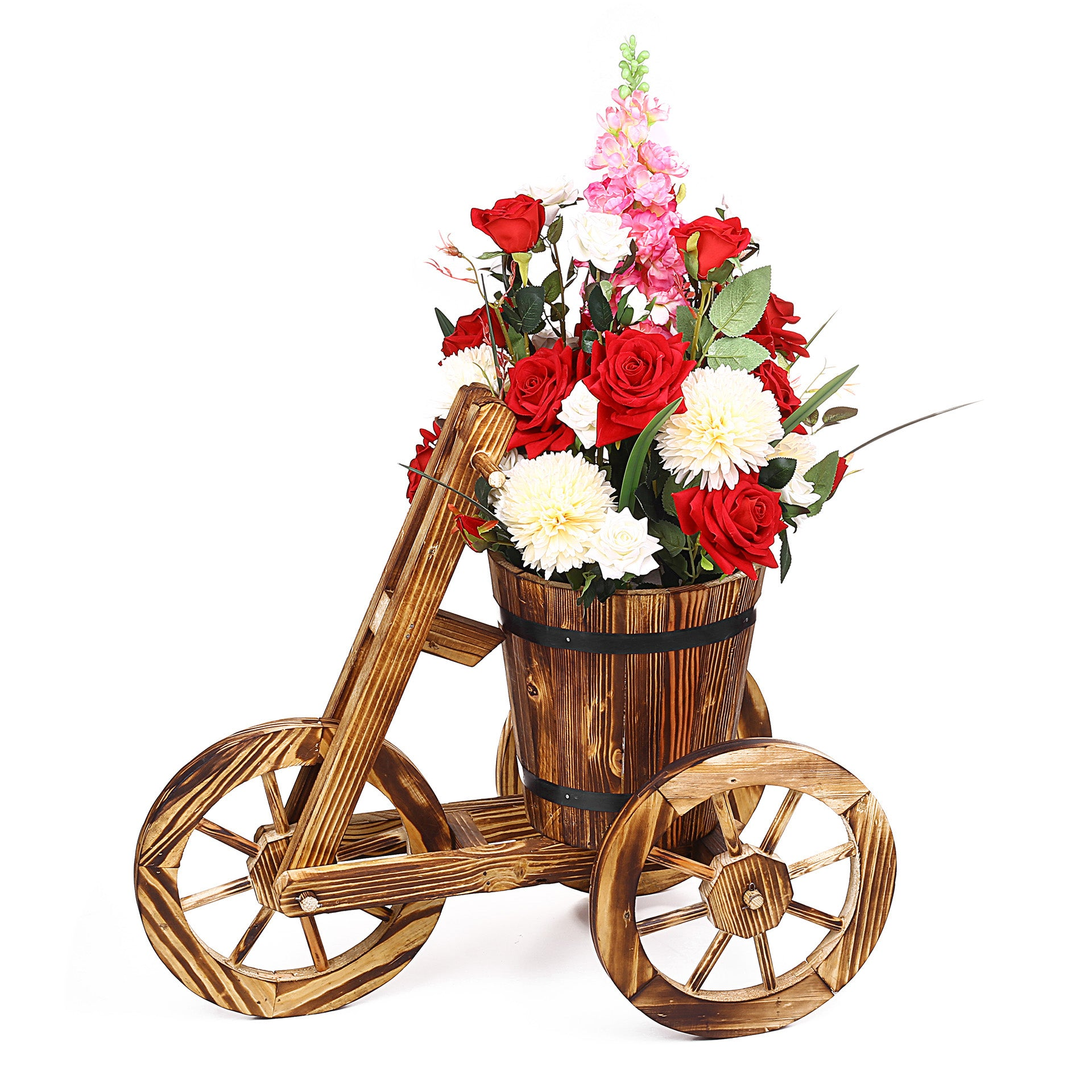 Wooden Cycle Trolley Design Flower Bucket
