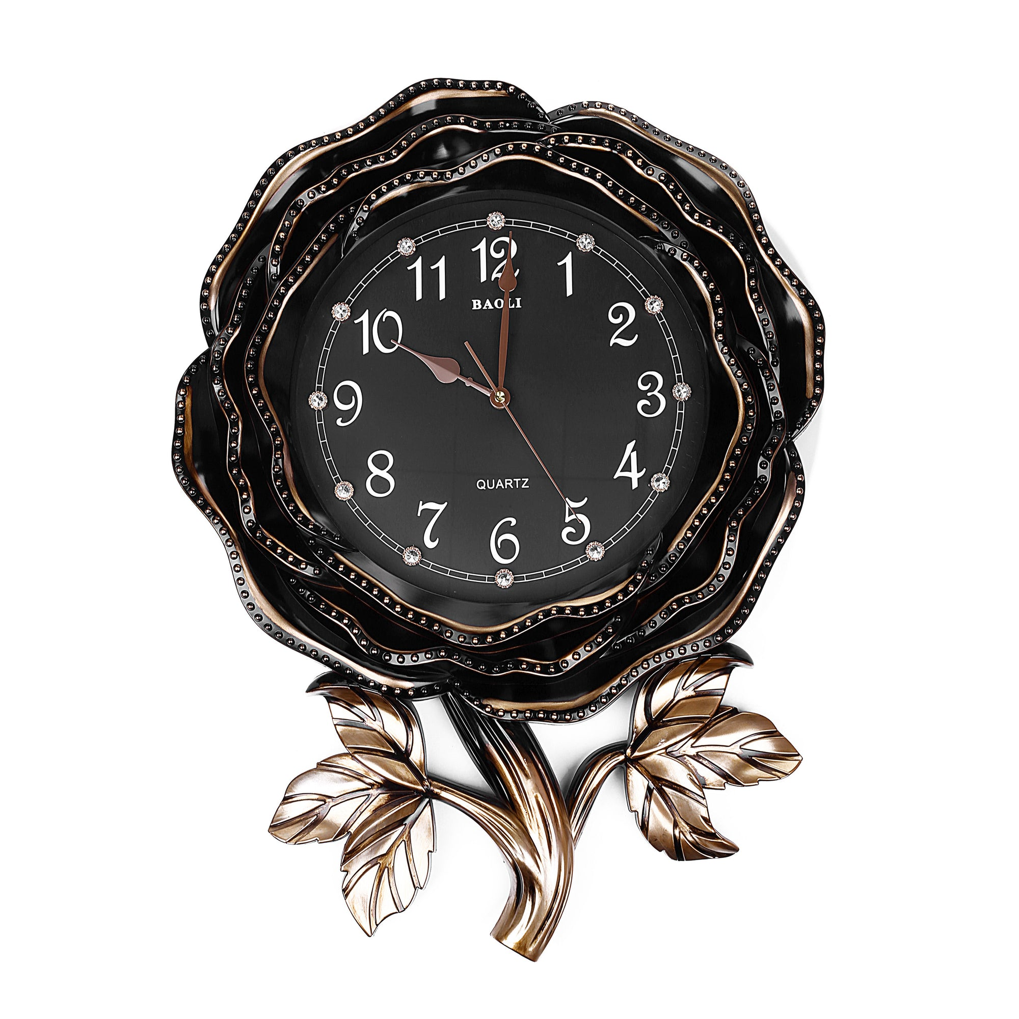 Modern Royal Black Rose Design Wall Clock