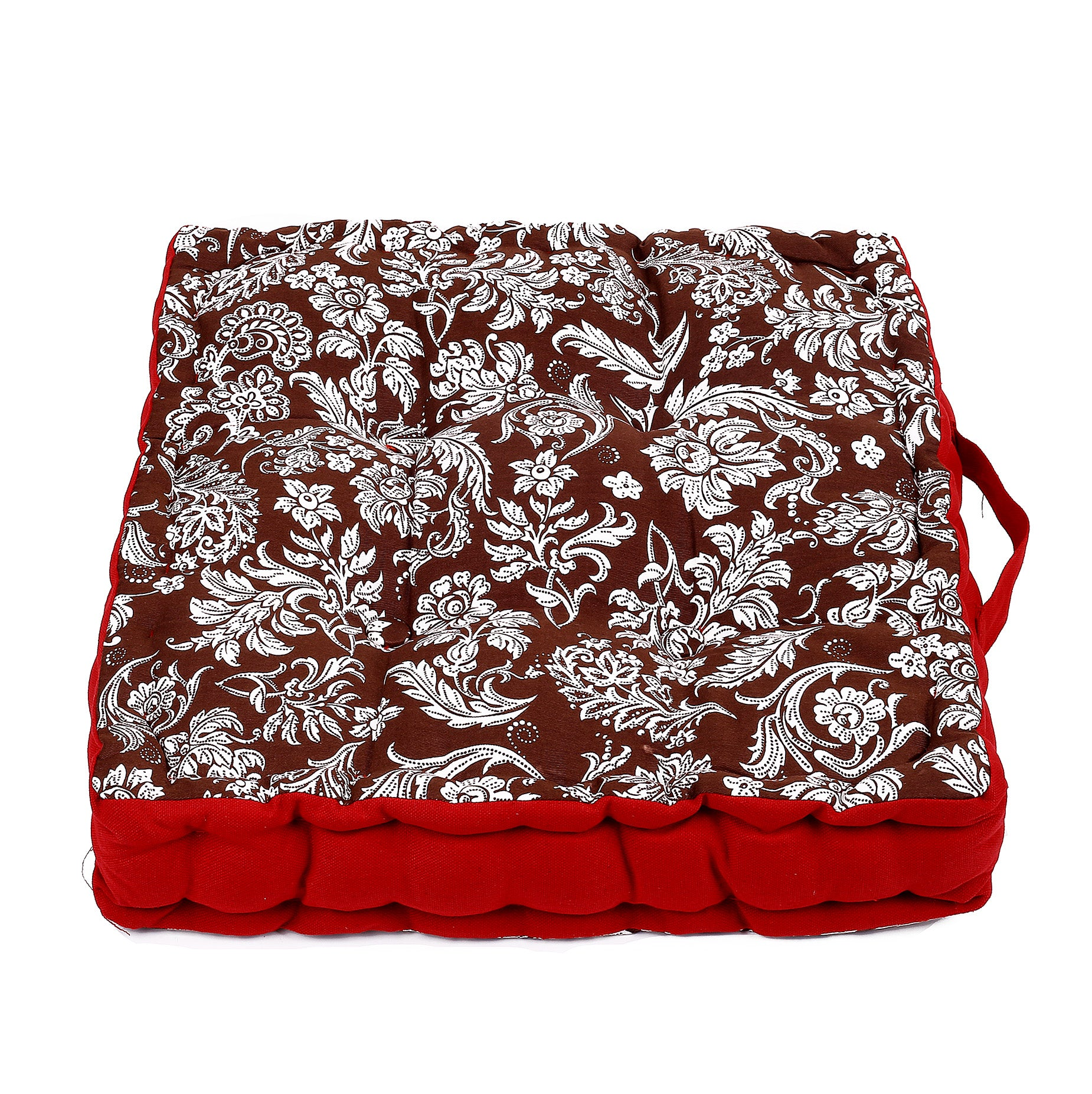 Red Flowers Design Floor Cushion