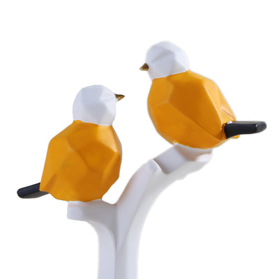 Abstract Sparrows Ornament  (Yellow & White)