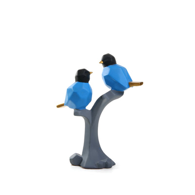 Abstract Sparrows Ornament  ( Blue & Gray)