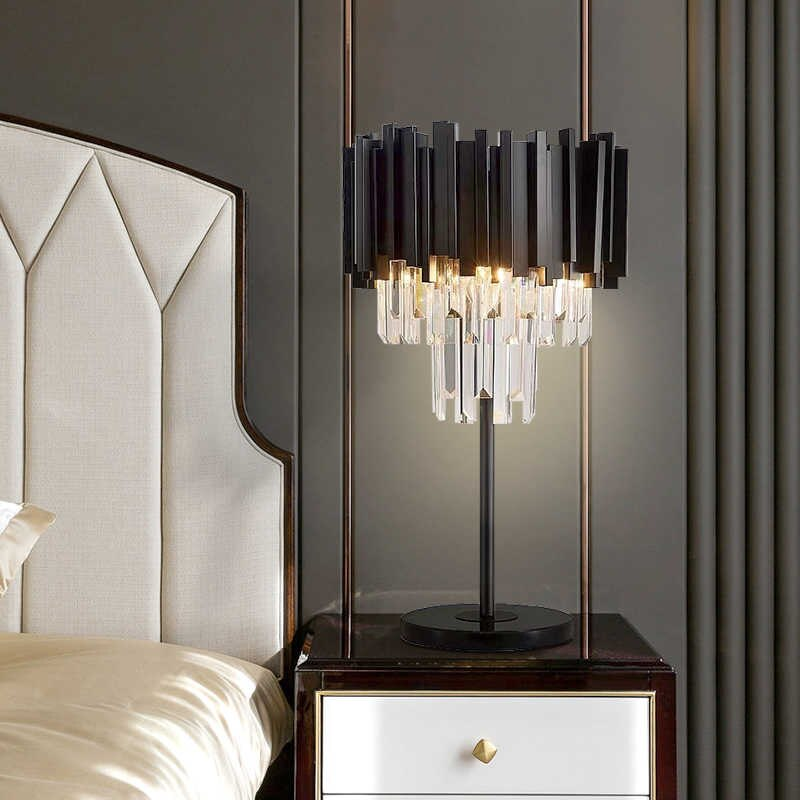 Matt Black Crystal Bars Table Lamp