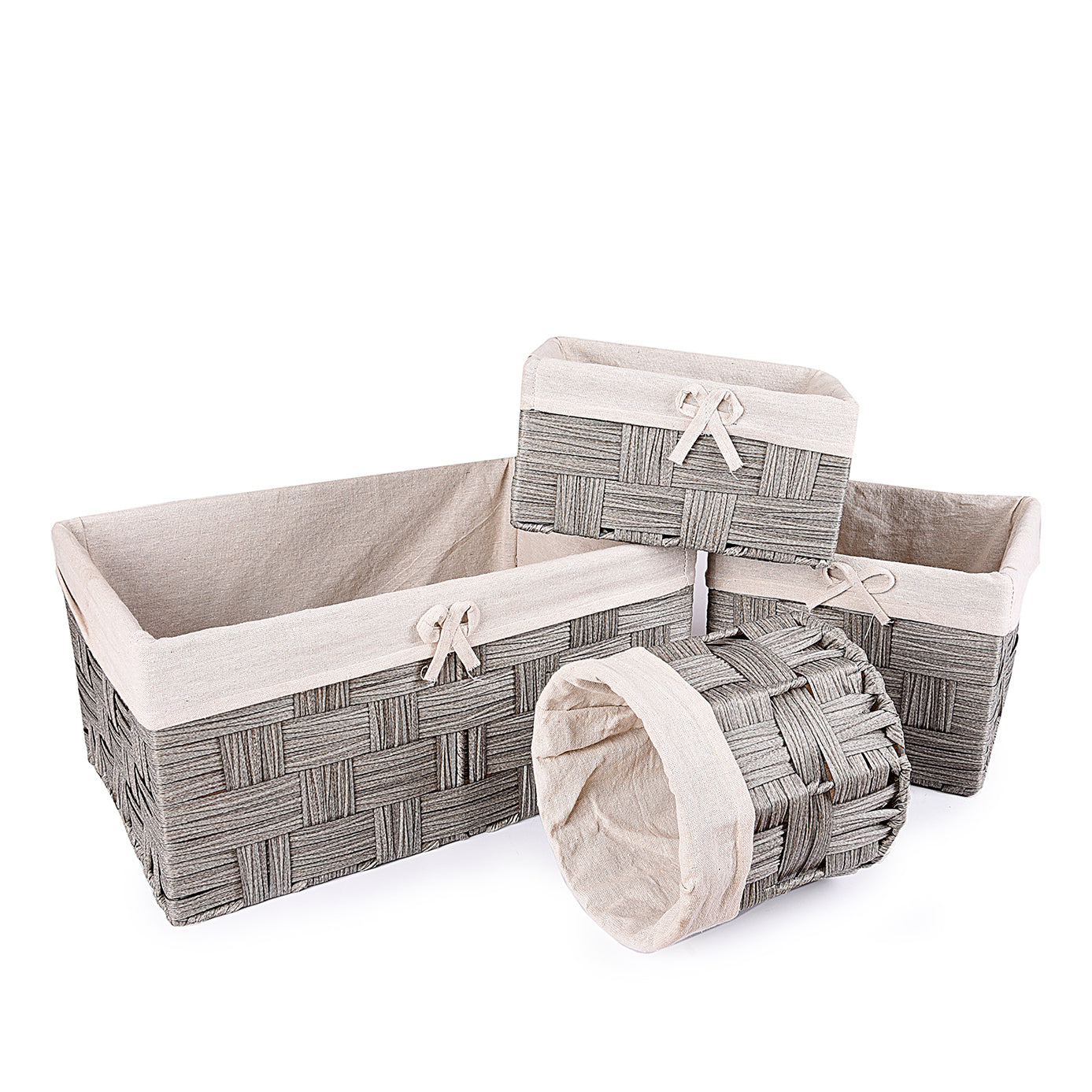 Gray Textured Towel basket  (Set of 4)