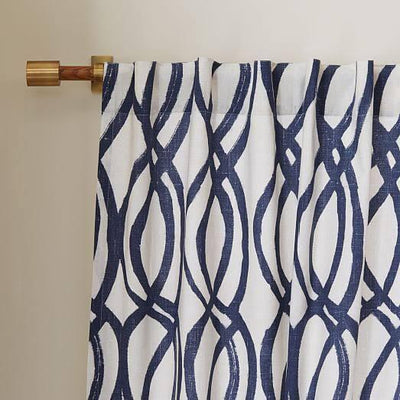 Scribble Lattice by West Elm Curtain Blue (Single Panel)
