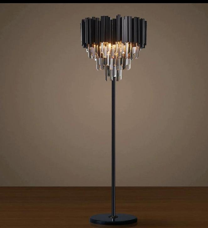 Matt Black Crystal Bars Floor Lamp