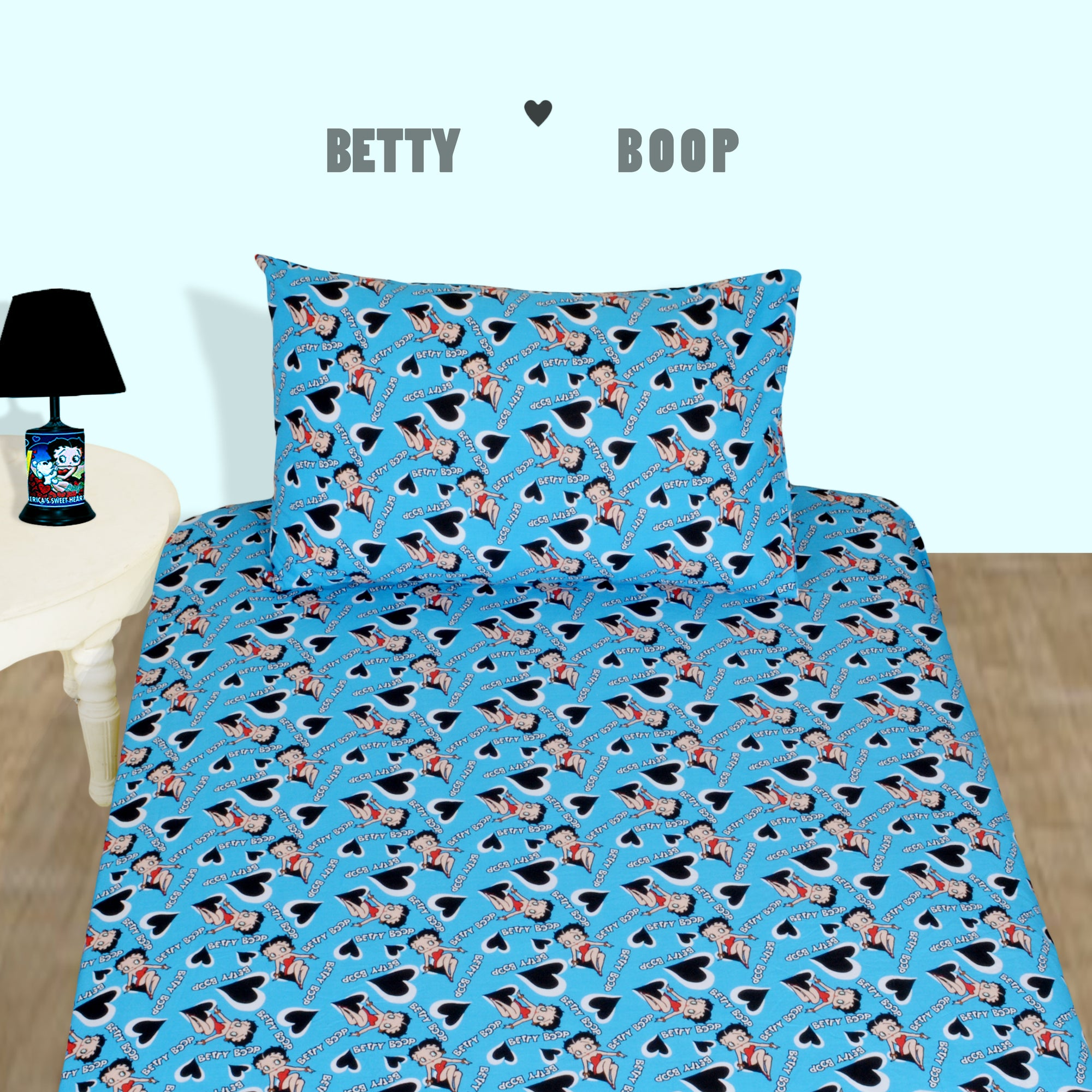 Betty Boop Character Blue Bed-sheet with Pillow case