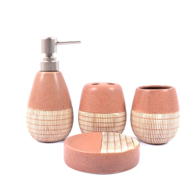 Embossed Lines Detail Bathroom Set BATHROOM SETS HOMS