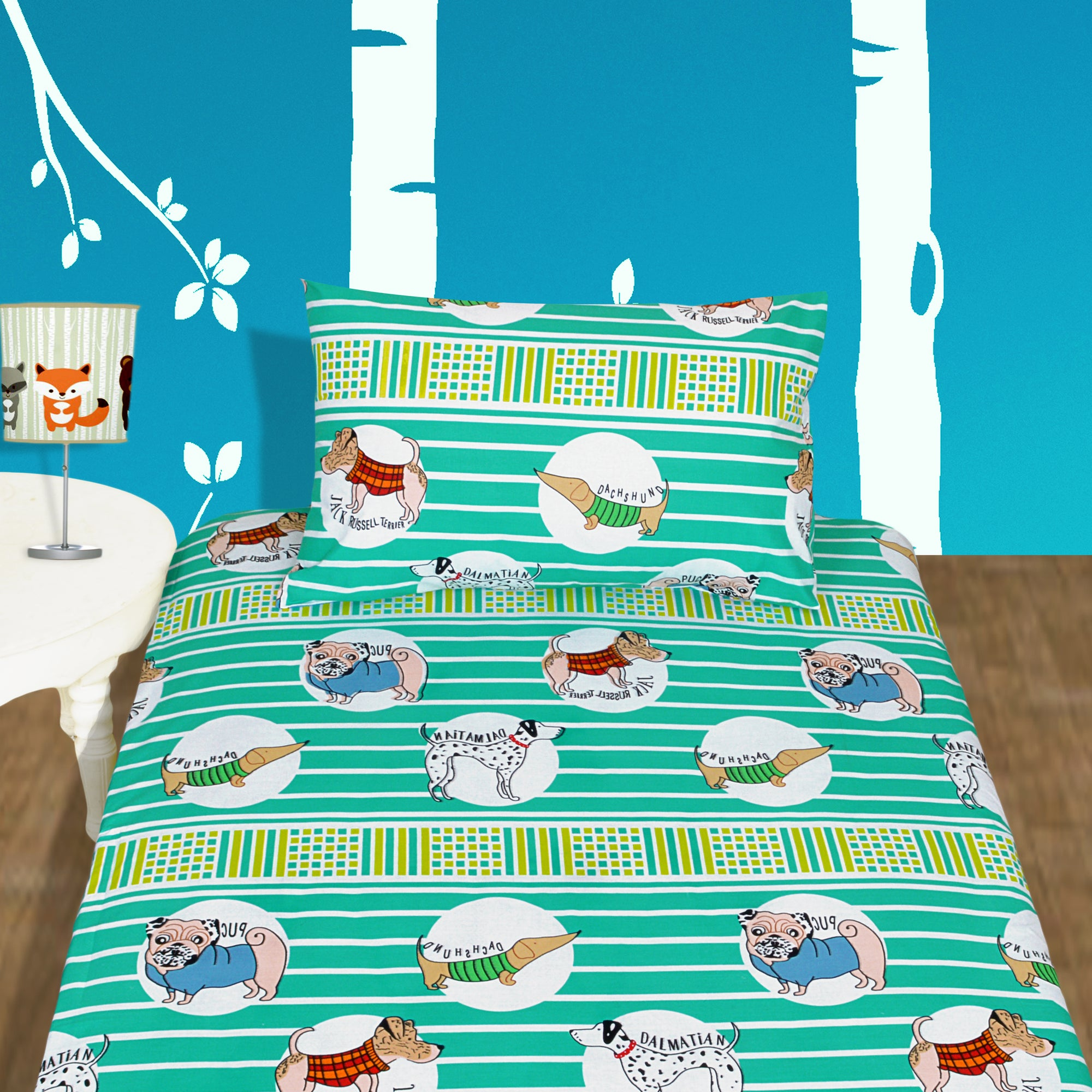 Dog Lover Designed Single Bed-sheet with Pillow case