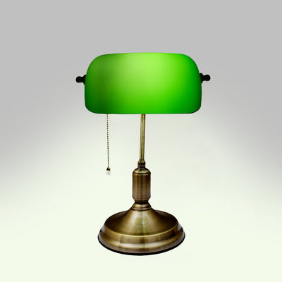 Hammond Green Glass Brass Bankers Table Lamp