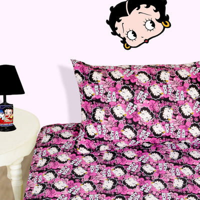 Betty Boop Character Pink Bed-sheet with Pillow case