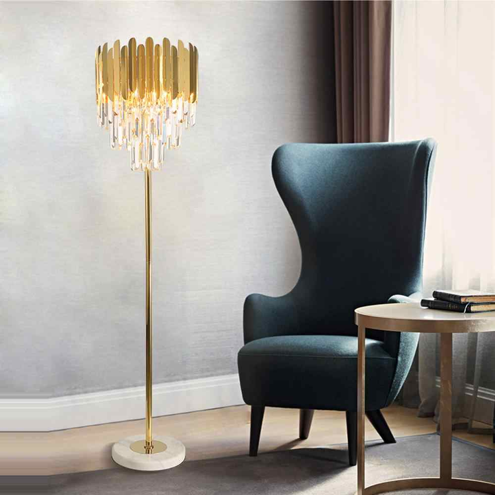 Gold Plated Crystal Bars Floor Lamp