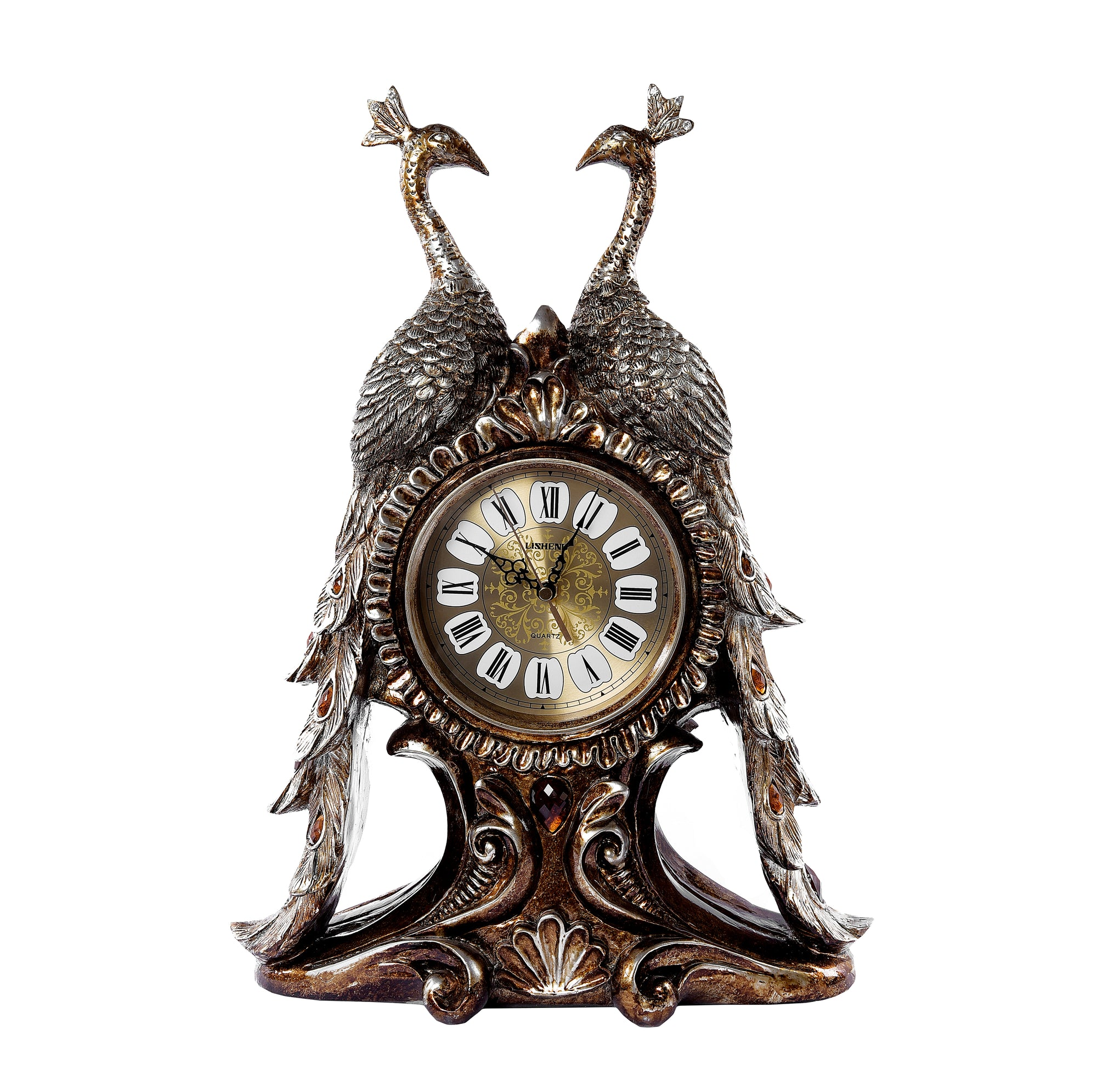 PEACOCK DESIGN PERIOD CHINOISERIE STYLE CLOCK
