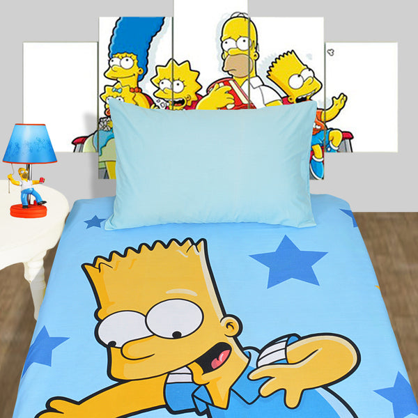 Simpson Character Single Bed-sheet With Pillow Case