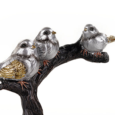Three Sparrows Silver on Tree Statue (Large)